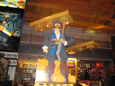 Toys-R-Us in Times Square in New York City has a nice life size Lego built i nthe shape of Captain Jack Sparrow