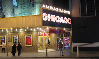 The Broadway show Chicago in New York City at the Ambassador Theater