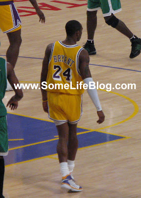 Kobe Bryant with his short shorts at Staples Center for Lakers vs. Celtics