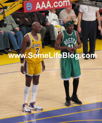 Lamar Odom with his short shorts at Staples Center for Lakers vs. Celtics