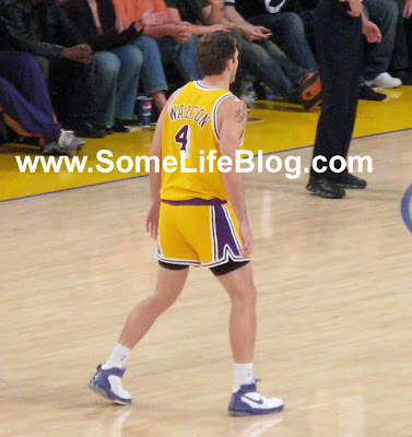 Luke Walton with his short shorts at Staples Center for Lakers vs. Celtics