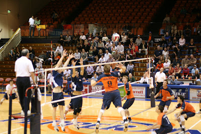 Pepperdine Homecoming 2008 - The men's volleyball team hitting for a kill during their match against UCSD
