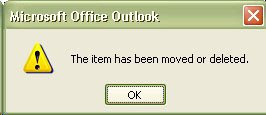 Outlook Error: The item has been moved or deleted.