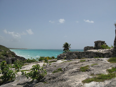 The Tulum Ruins are set against the backdrop of the Caribbean Sea