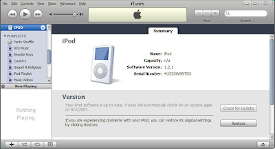 Restore iPod Update software from iTunes on Apple iPod 20GB upgrade to 60GB hard drive