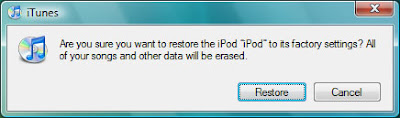 Confirm restore on Apple iPod 20GB upgrade to 60GB hard drive