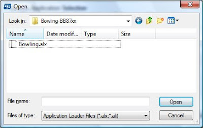 Now located the Bowling.alx file on your computer where you unzipped the files to for installation via your Desktop Manager.  Click on open to complete.