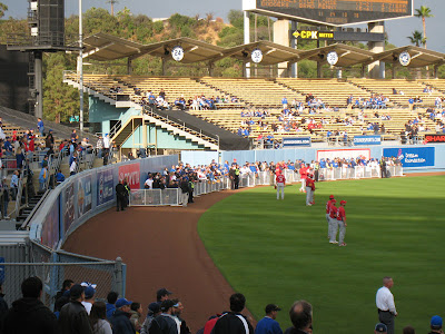The Center Field area during batting practice at Dodgers Stadium that saw the fence fall