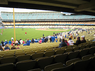 The view from Section 49 at Dodgers Stadium is not bad, especially if there is intense weather.