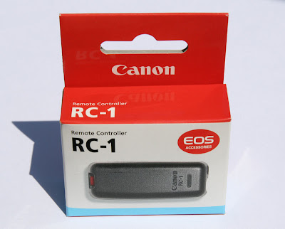 Box shot of the Canon Remote Control RC-1 for Canon EOS Cameras including the XTi 400D and XSi 450D (Canon part 2465A001[AA])