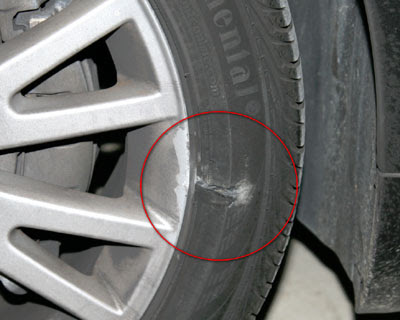 Some tire and rim damage to my Audi A4