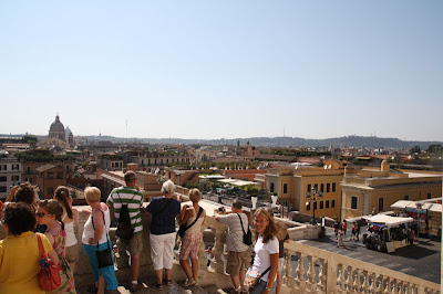 Ashley looks back from the top of the Spanish Steps here in Rome.