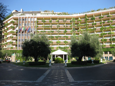 Arrival on the hill at the Cavalieri Rome Hilton or just Cavalieri as the taxi drivers know it.