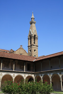A great view of the Santa Croce bell tower from the courtyard.