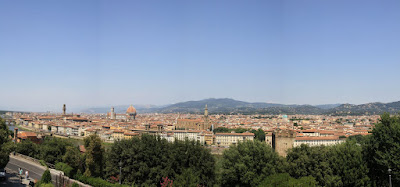 The view from the top of Pizzale Michelangelo of the city of Florence is quite a panoramic beauty.  Luckily, thanks to my camera and a little help from PhotoStich, I am able to capture it.