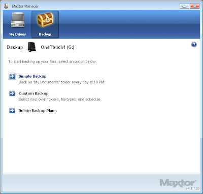 Creating a backup on the Maxtor One Touch4 with the Maxtor Manager