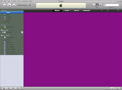 The new iTunes version 8 with the Purple / Pink / Fuchsia background in Windows with 8.0.0.35