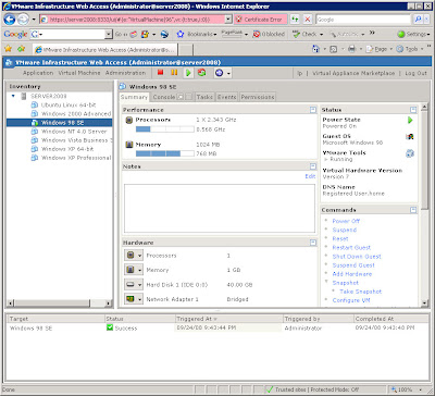 After reboot, the Windows 2008 Server / VMWare Serve 2.0 Web MUI.  My Windows 98 instance fires up cleanly!