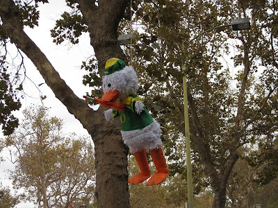 Classic.  The Oregon Duck pinata mascot with a spear in it.