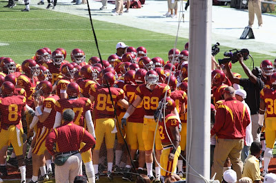 The USC Trojans congregate to take the field before the game starts. Tight End Blake Ayles front and center in the picture.