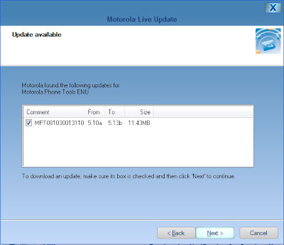 Screen Shot showing the upgrade of Motorola Phone Tools v5 5.10a to 5.13b in Avanquest Software