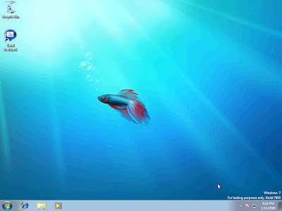 The first look at Windows Vista 7 64-bit desktop.  Nothing life changing here, some updated and simplified navigation panes are on the bottom taskbar -- similar to what many of us use the Quick Launch toolbars for.