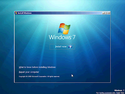 A standard and basic installation screen.  Looks very similar to what many of us are used to with Windows Vista and Windows Server 2008.