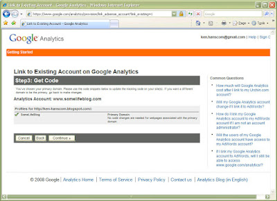 A quick look at the process...In step 3, after logging into my Google Analytics account, I complete the association of my SomeLife Google Analytics profile with my AdSense account.