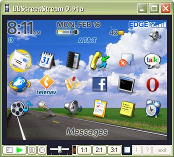 BBScreenStream v0.93a is a free download tool utility for capture recording and creating movies from your blackberry screen shots.
