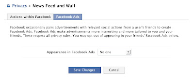 Facebook occasionally pairs advertisements with relevant social actions from a user's friends to create Facebook Ads. Facebook Ads make advertisements more interesting and more tailored to you and your friends. These respect all privacy rules. You may opt out of appearing in your friends' Facebook Ads below.