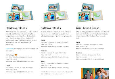 iPhoto 09 Keepsake photobook pricing for wire bound, softcover, and hardcover photo books from Apple