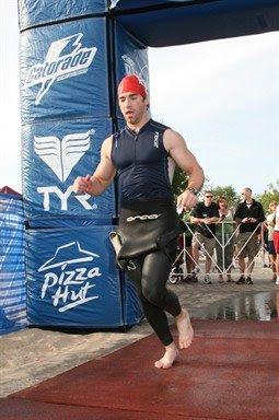 Aaron Fanetti exiting the swim in the 2009 Ironman 70.3 Steelhead