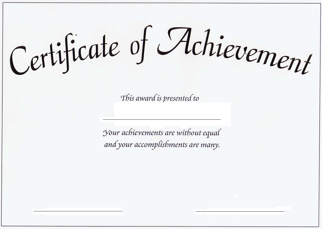 Achievement Template. Samples Of Certificate Of Achievement ...