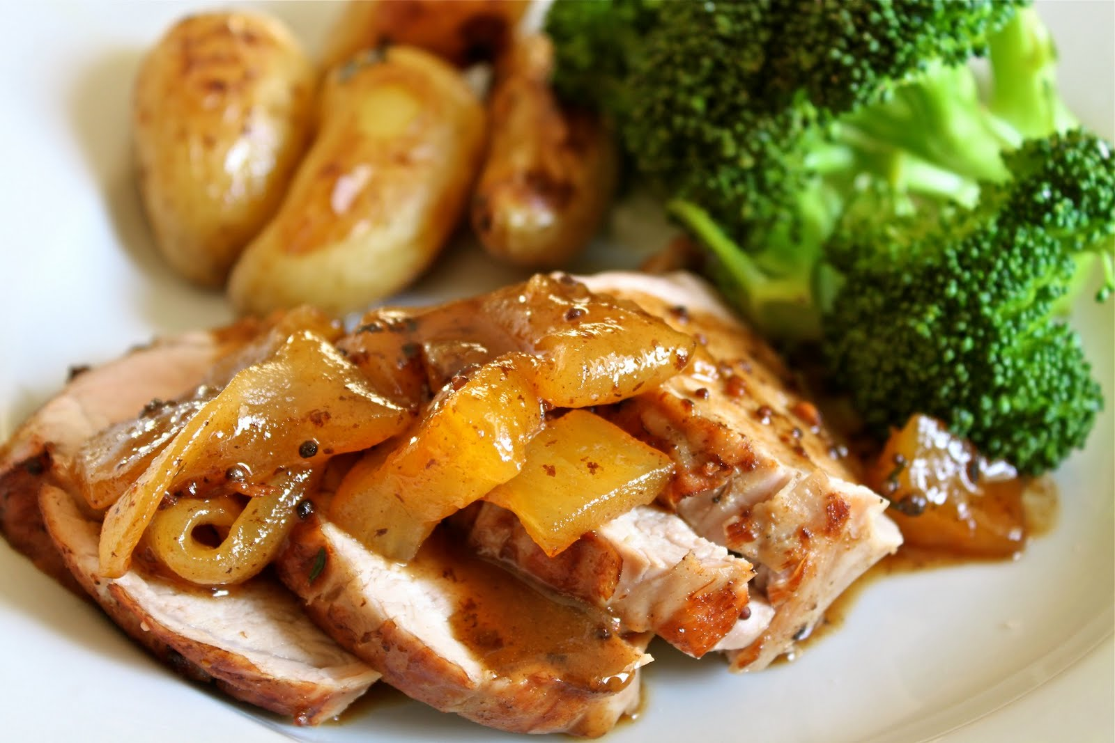 roast pork tenderloin with mostarda roasted fingerling potatoes and ...
