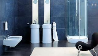 Ideias decoração mobiliário | Decoração de casa de banho em cores de Azul.
