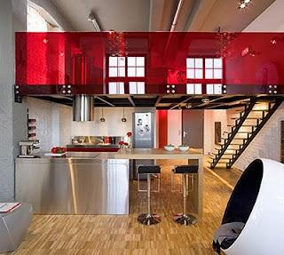Ideias decoração mobiliário | Decoração mezzanine vermelha.