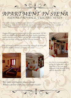 an a5 flyer designed to advertise an apartment in sienna italy
