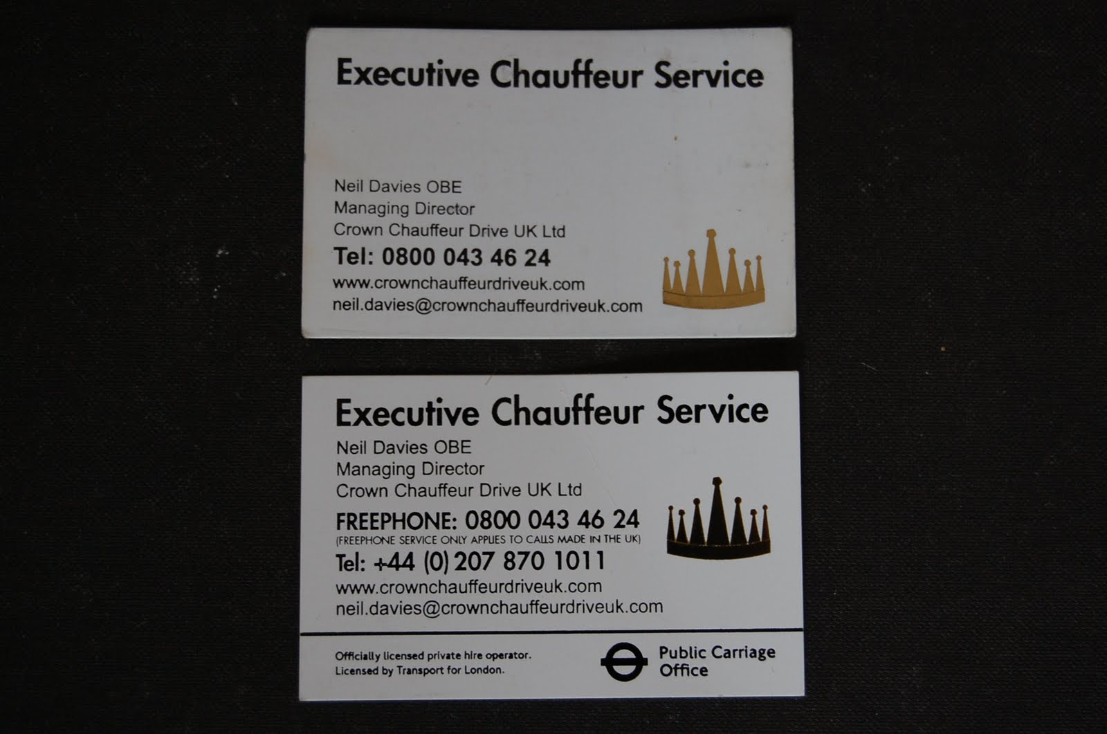 Rhian rudkin independent projects for Chauffeur business cards