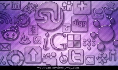 Transparent Glass Social Bookmarking Icons