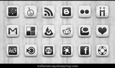 Matte White Square Social Icons