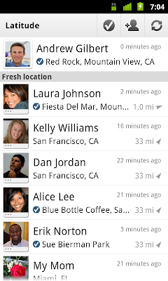 Google Latitude Checkin screenshot