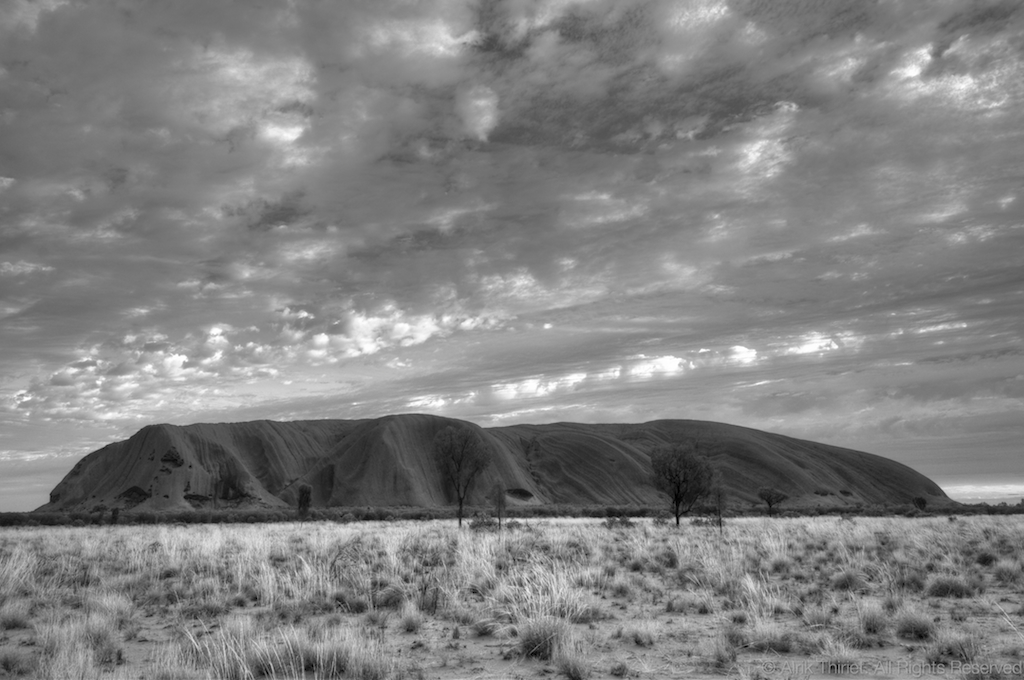 Uluru ayers rock in black white australia