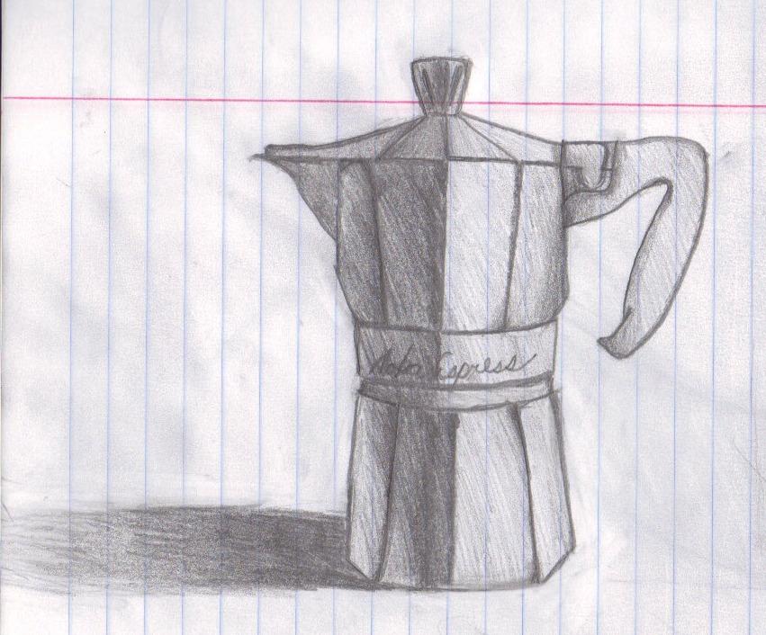 Coffee Drawing Moka Pot