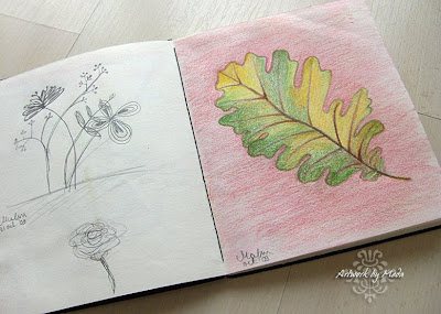 floral doodles and oak leaf