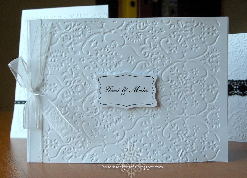 Black and white handmade wedding cards