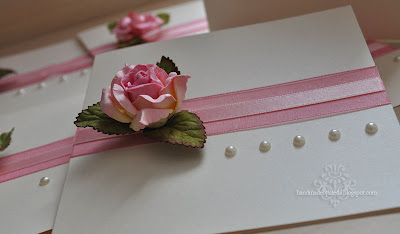 romantic  invitation with paper rose