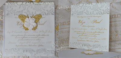 gold and cream wedding inviattion with butterfly inside