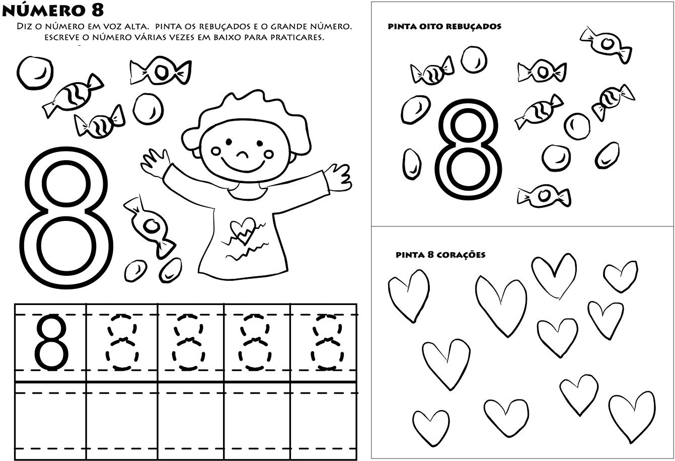 numero 8 para colorir aprender a escrever numeros desenhos para