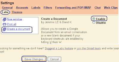 Create a document feature of GMail Labs