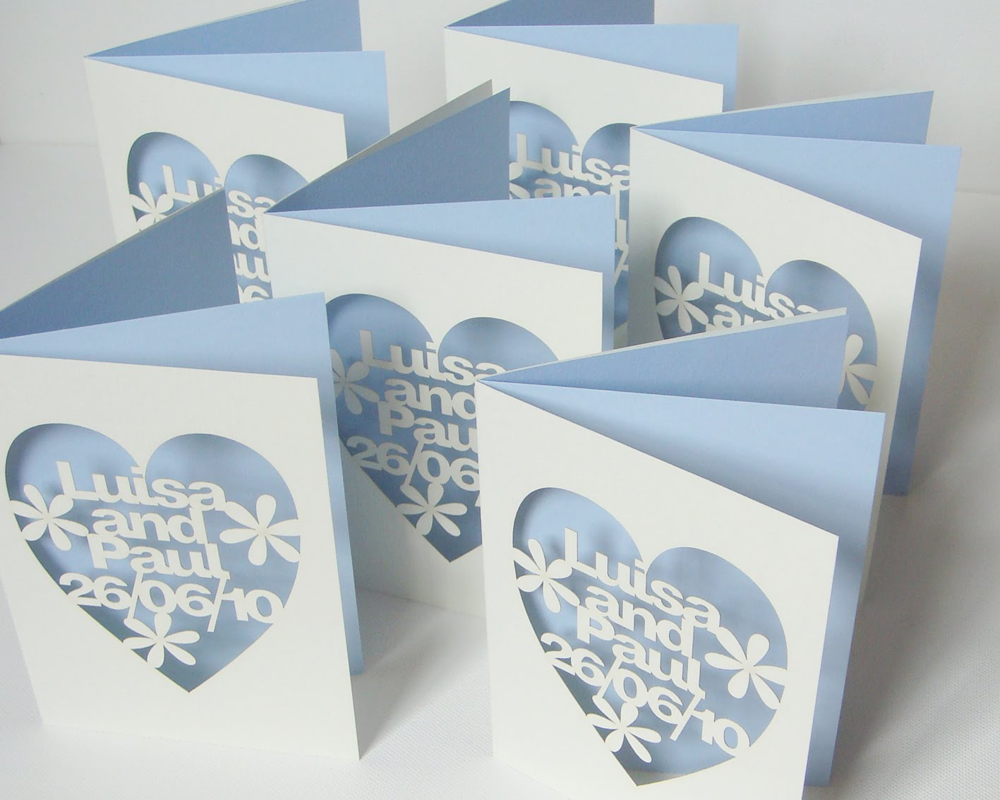 Back On The Wedding Stationery But For Another Happy Couple Instead Of Us I Have Loved Making These Pale Cream And Ice Blue Personalised Cut Out Cards